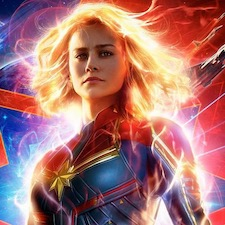 A movie poster showing Captain Marvel